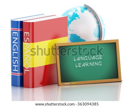 3d renderer illustration. Dictionaries and Blackboard. Language learning and translate, education concept. Isolated white background - stock photo