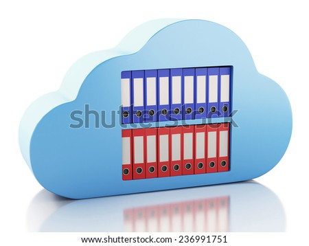 3d renderer illustration. File storage in cloud. Cloud computing concept - stock photo