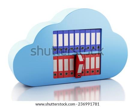 3d renderer illustration. File storage in cloud. Cloud computing concept - stock photo