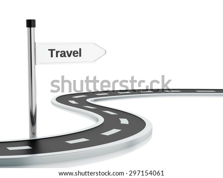 3d renderer illustration of curved road and travel road sign. Isolated white background - stock photo
