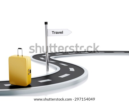 3d renderer illustration of curved road with travel suitcase and travel road sign. Isolated white background - stock photo