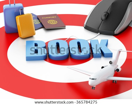 3d renderer illustration. Online booking concept. Computer mouse, airplane and travel suitcase on target. - stock photo