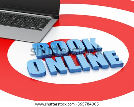 3d renderer illustration. Online booking concept. Laptop pc on target - stock photo