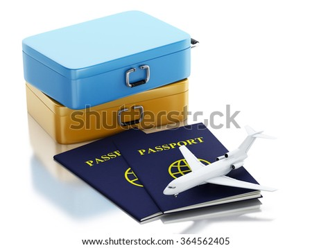 3d renderer illustration. Passport, airplane and travel suitcases. Travel concept. Isolated white background - stock photo