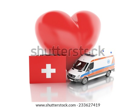 3d renderer illustration. red heart, first aid kit and ambulance - stock photo