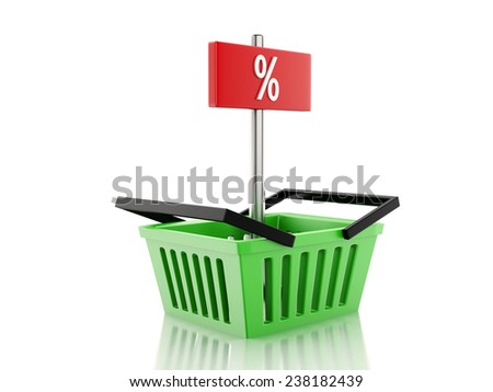 3d renderer illustration. Shopping basket and percent sign. discount  concept on white background - stock photo