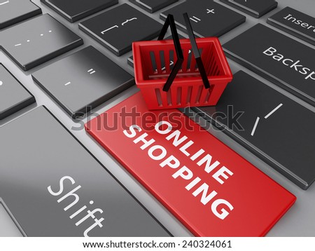 3d renderer illustration. Shopping basket on computer keyboard. Online shopping concept. - stock photo