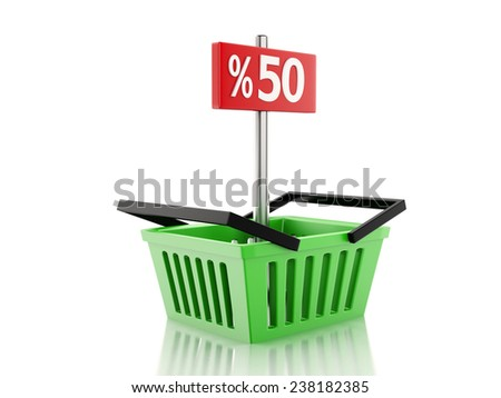 3d renderer illustration. Shopping basket with 50 percent sign. discount  concept on white background - stock photo