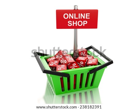 3d renderer illustration. Shopping basket with red cubes. online concept on white background - stock photo