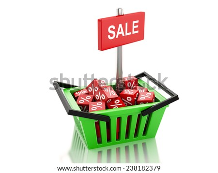 3d renderer illustration. Shopping basket with red cubes. sale concept on white background - stock photo