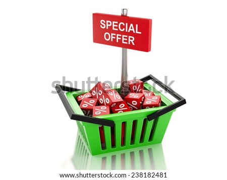 3d renderer illustration. Shopping basket with red cubes. special offer concept on white background - stock photo
