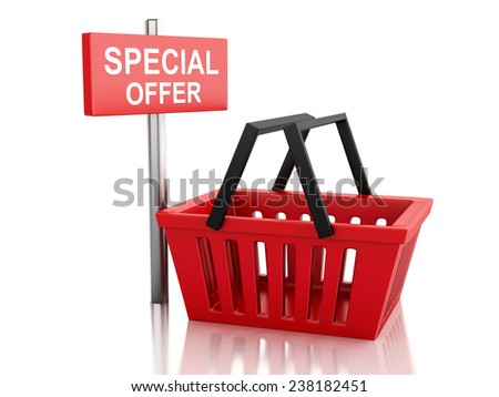 3d renderer illustration.  Shopping basket with special offer sign on white background - stock photo
