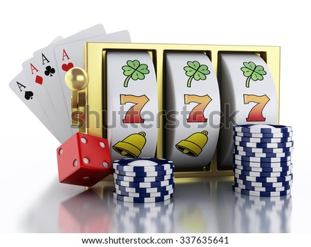 3d renderer illustration. Slot machine with dice, cards and chips. Casino concept. Isolated white background - stock photo