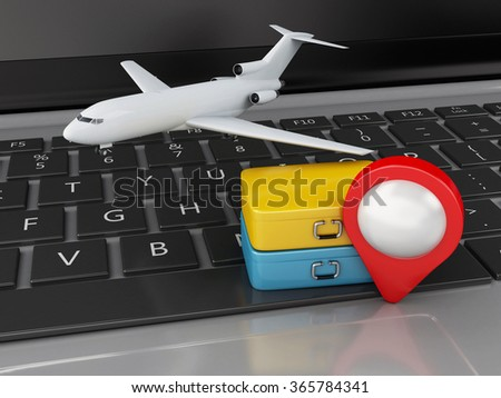 3d renderer illustration. Travel suitcase and airplane on computer keyboard. Travel concept - stock photo