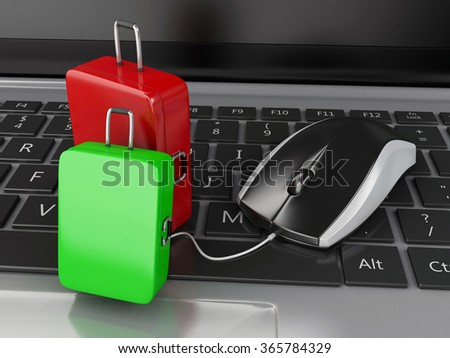 3d renderer illustration. Travel suitcase and computer mouse on computer keyboard. Online booking or travel concept. - stock photo