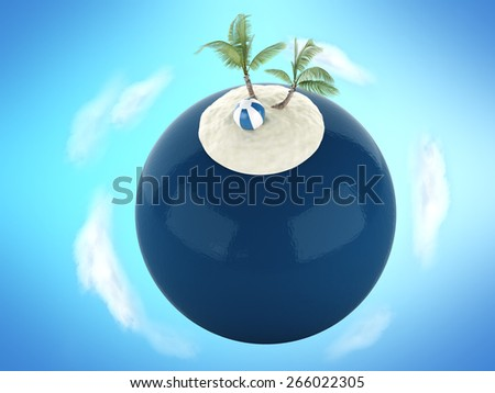 3d renderer illustration. Tropical sand beach with palm tree. Concept for summer holidays - stock photo
