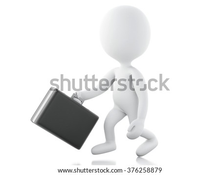 3d renderer illustration. White business people going for the success with a briefcase. Isolated white background.