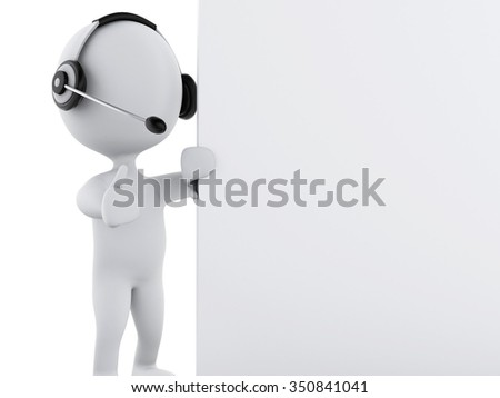 3d renderer illustration. White business people with headphones and blank board