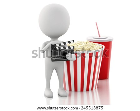 3d renderer illustration. White man with clapper board, popcorn and drink. cinematography concept on white background - stock photo