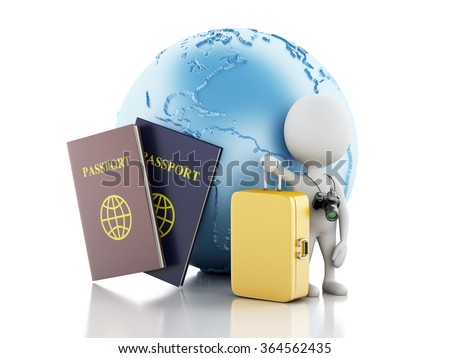3d renderer illustration. White people tourist with passport and earth globe. Travel concept. Isolated white background - stock photo