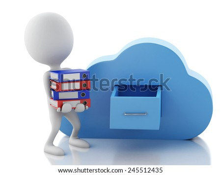 3d renderer illustration. White people with file storage and cloud. Cloud computing concept on white background - stock photo