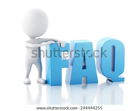 3d renderer illustration. White person standing next to FAQ on white background