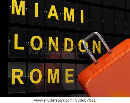 3d renderer image. Airport board and travel suitcases. Airline travel concept.  - stock photo