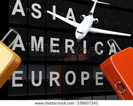 3d renderer image. Airport board, travel suitcases and airplane. Travel or tourism concept. - stock photo