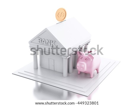 3d renderer image. Bank building with money coin and pink piggy bank. Isolated white background.