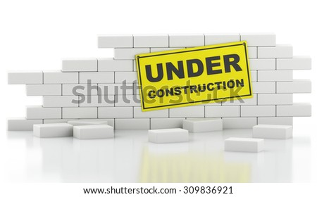 3d renderer image. Broken Brick Wall Isolated on white background. Construction concept. - stock photo
