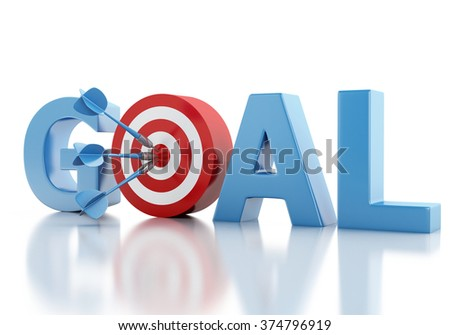 3d renderer image. Business goal text and red target. Success concept. Isolated white background - stock photo
