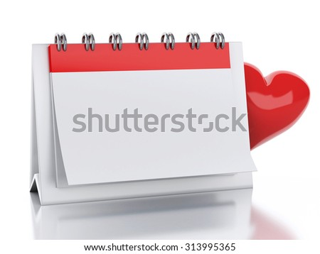3d renderer image. Calendar with red heart. Valentine's Day concept. Isolated white background - stock photo