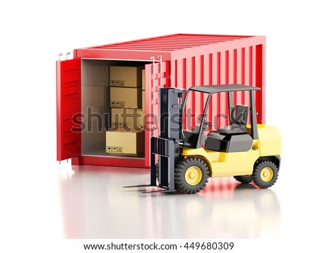 3d renderer image. Cargo container with forklift and carboard boxes. Industry concept. Isolated white background.
