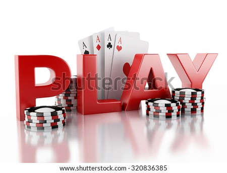 3d renderer image. Casino tokens and Playing Cards. Casino concept, Isolated white background - stock photo