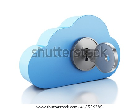 3d renderer image. Cloud locked by key. Cloud computing concept. Isolated white background. - stock photo