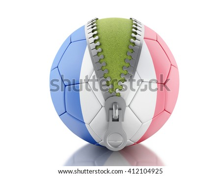 3d renderer image. 3d Soccer ball with flag of France. Sport concept. Isolated white background. - stock photo