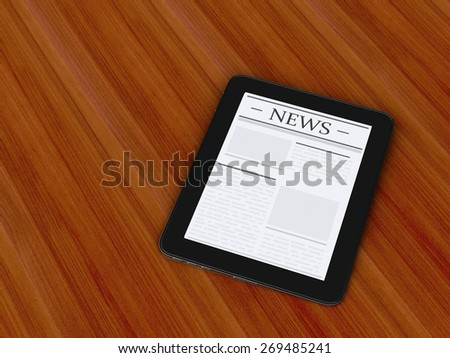 3d renderer image. digital tablet pc with news.  Internet, Media concept. - stock photo
