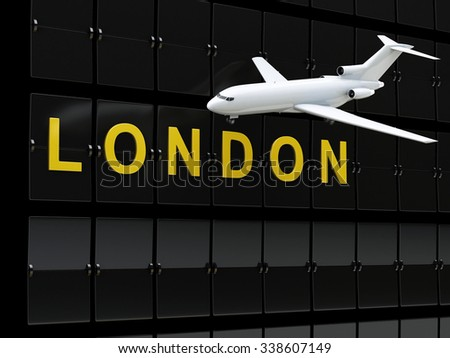 3d renderer image. Europe airport departures. Travel to London - stock photo