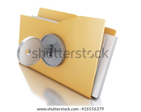 3d renderer image. Folder locked with key. Security concept. Isolated white background.