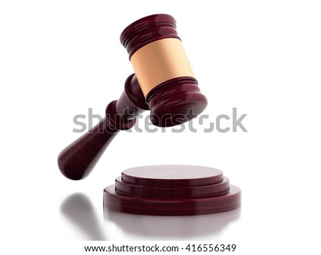 3d renderer image. Gavel on isolated white background. Law concept. - stock photo