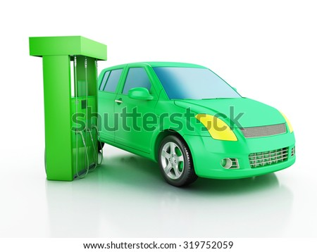 3d renderer image. Green electric car at charging station. Alternative power concept on white background - stock photo
