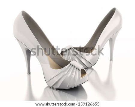3d renderer image. High heel shoes. Isolated white background - stock photo