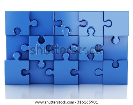 3d renderer image. Jigsaw Puzzle. Business creativity and success concept. Isolated white background - stock photo