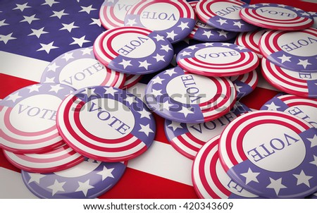 3D renderer image. llustration of presidential campaign pins. Isolated white background. - stock photo