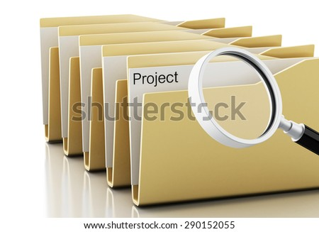 3d renderer image. Magnifying glass examines projects in folders. Isolated white background - stock photo
