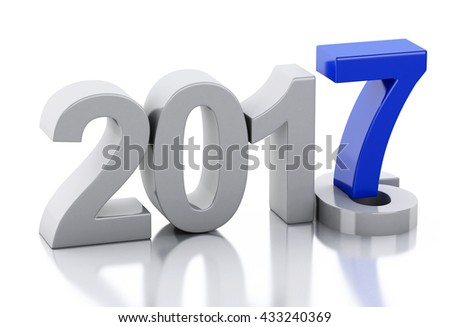 3d renderer image. New Year 2017 isolated on white background.