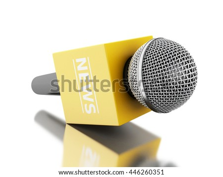 3d renderer image. News microphone tv with yellow box. News concept. Isolated white background. - stock photo