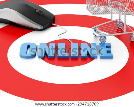 3d renderer image. Online internet concept. Computer mouse and Shopping cart on target. - stock photo