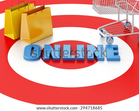 "3d renderer image. Online internet concept. Shopping cart, shopping bags and ""online"" text on target."