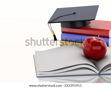 3d renderer image. Open book with an Apple, Graduation cap and stack of Books. Education concept. Isolated on white background - stock photo